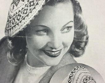 Vintage knitting pattern 1940's Bestway 1870 two Fair Isle berets/tam o'shanters