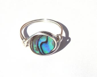 Abalone Ring, Wire Wrapped Abalone Ring, Wire Wrap Abalone Ring, Wire Wrapped Ring, Wire Wrap Ring, Paua Shell Ring, Abalone Jewelry, Shell