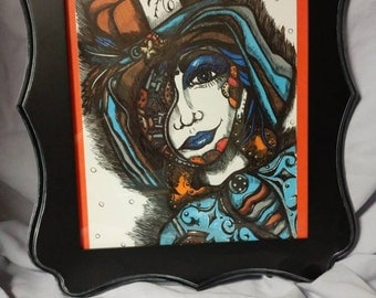 Steampunk Mad Hatter Drawing in Frame