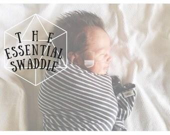 Striped swaddle blanket-baby swaddler-baby receiving blanket-baby security blanket-striped blanket-lightweight knit blanket-black