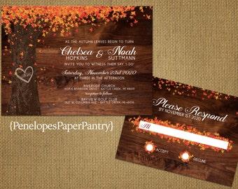 Romantic Rustic Fall Wedding Invitation,Oak Tree,Carved Heart,Initials,Fall Leaves,Rustic Fall Wedding,Elegant,Custom,Printed Invitation