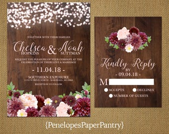 Elegant Rustic Fall Wedding Invitation,Burgundy,Blush,Barn Wood,Glowing Fairy Lights,Rustic,Romantic,Custom,Printed Invitation,Wedding Set