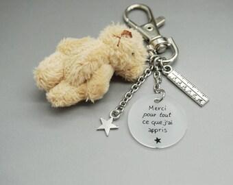"""porte clé ours nounours cabochon """"merci pour tout ce que j'ai appris"""" - cadeau scolaire personnalisable"""