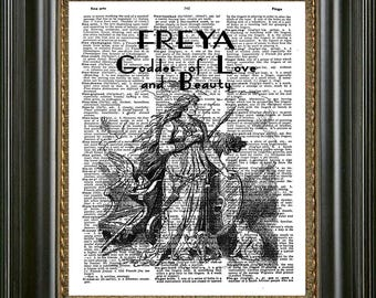 Freya Goddes Wall Art, Goddes Freya Art Antique Dictionary Print, Goddes Art Print on Vintage Dictionary Page, Freya Statue Dictionary Art