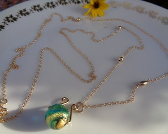 Long gold chain, 585 gold filled with Murano pendant, chic design