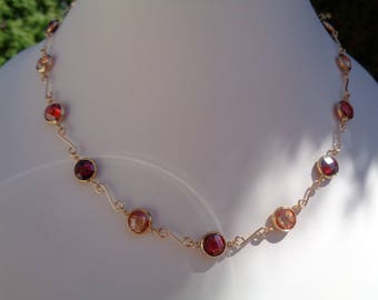 Gold Collier, 585 gold filled, with cubic zirconia in fiery red!