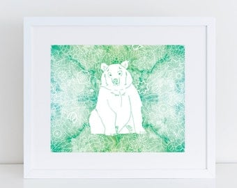 SALE Bear Print Green Colour Watercolour Floral Background White Line Drawing Woodland Theme Wall Art for Home or Kids Room