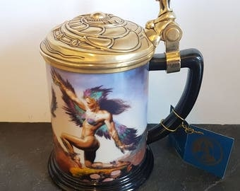 Mistress Of The Skies Collector Tankard By Boris ~ Franklin Mint Stein Or Beer Mug With Fantasy Figures