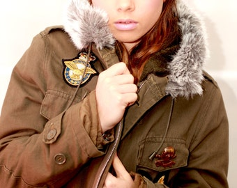 Green Customised Long Parka with Beautiful Faux Fur Hood detail
