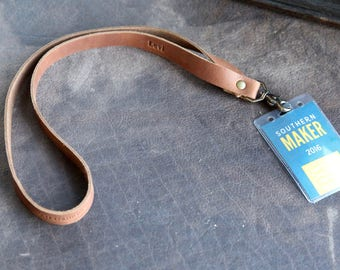 The Producer - Personalized Fine Leather Lanyard - Badge Holder Id Holder Keychain Necklace - With Swivel Clip