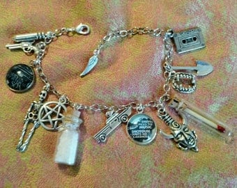 Supernatural Themed Charm Bracelet - 14 Charms! - Dean Winchester, Sam Winchester, Castiel
