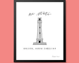 NC State North Carolina Bell Tower Art Print