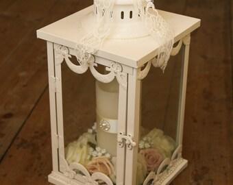Shabby chic lantern table centerpiece.