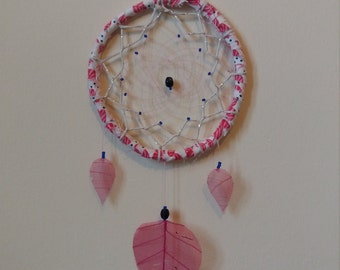 Pink, white, and navy dreamcatcher