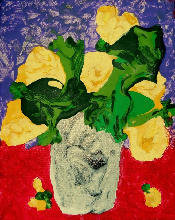 YELLOW ROSES 1, Abstract Impressionist Painting, Folk Art, still life, yellow roses in a silver vase, by Stacey Torres Artist