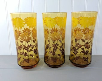3 Vintage Libbey Amber Glass Daisy Tumblers, Tall Gold Libbey Drinkware with Daisies, Retro Kitchen Amber Glasses