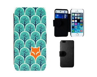 Fox Wallet case, iPhone SE 8 7 6 6S Plus X, 5S, 5C 4S Samsung Galaxy Flip S8 Plus, S7 S6 Edge, Note 5 S4 S5 Mini, fox gifts phone case. F281