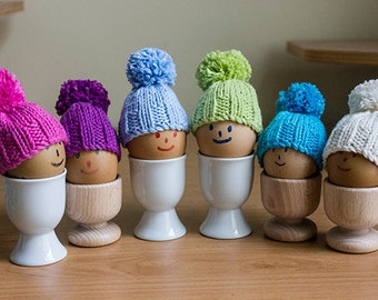 Egg Cosies made in Cotton, Brightly Coloured Egg Cosies set of 6, 100% cotton, hand knitted, Easter Egg Cosy, egg warmers