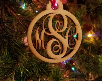 sale Wood triple monogram christmas Ornament wooden ornament monogram ornament personalized christmas ornament custom christmas decoration