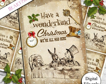 8 Digital Vintage Alice in Wonderland Christmas Tags,Toppers,Cards,Printable,Collage Sheet,Gift Tags,scrapbooking,crafts