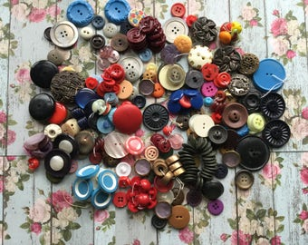 Beautiful Assortment of Colorful Vintage Buttons - Nice Designs Too