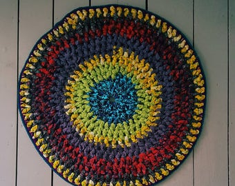 "Get rooted"" Hand Crocheted Mediation and altar rug. Recycled fabric Get Ripped Rug"
