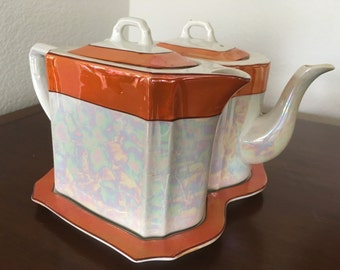 German Lusterware Coffee Pot and Tea Pot with Tray (1920-1930's)