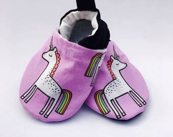 Unicorn Baby Shoes, Rainbow Baby Booties, Baby Girl Shoes, Purple Soft Soled Baby Shoes, Baby Moccasins, Crib Shoes, Toddler Slippers