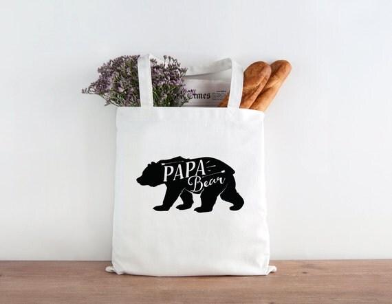 Papa Bear Tote, Mamma bear, bear tote, tote bag, market bag, fathers day gift, dad gift