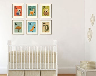 "Australia Wildlife Nursery Art Prints, Fun Quirky Educational Animal Illustrations, Kids Wall Art Posters, Kangaroo Koala Set of 6 (5""x7"")"
