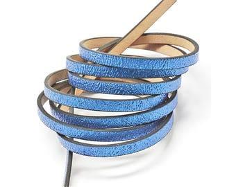 1.2 m cord faux leather flat royal blue glitter 5 mm