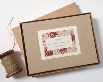 Rustic Rose Guest Book, Wedding Guest Book, Wedding Journal, Guestbook, Linen Guest Book