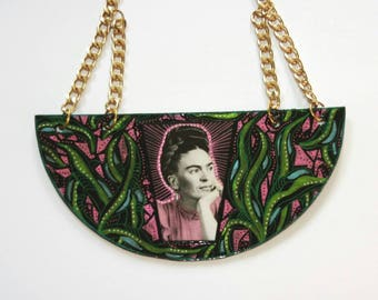 Frida Kahlo necklace ~ one of a kind hand painted and lacquered finish in lightweight material
