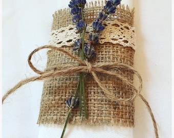 Hessian napkin ring with lace/lavender detail