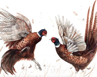 Limited edition 'Fighting pheasant' print