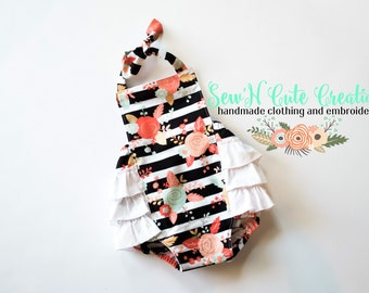 Floral and Stripes Ruffle Romper- Romper- Ruffle Bottom- Stripes- Black and White- Spring- Floral- Ruffles- Flowers- Black and White- Coral