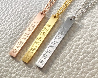 Vertical bar necklace, location bar necklace,Personalized Bar Necklace ,Coordinates Necklace,gift idea, bridesmaid gift,location necklace