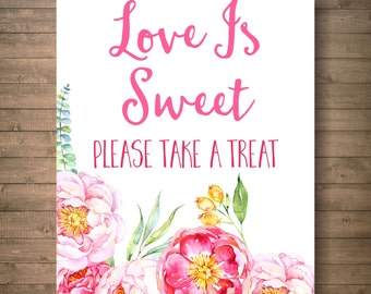cij, love is sweet sign for bridal shower, bridal shower decor, printable decor, printable sign for bridal shower, take a treat sign br57