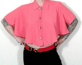 Vth 1980's Younique Cropped Batwing Sleeve Blouse w Cutout, Wn's Sz Small