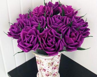 20 pcs Dark Purple, Paper Rose,Wedding Decor-Bridal Bouquet Purple-Crepe Paper Flower Bachelorette Party-Flower Birthday-Gift Anniversary