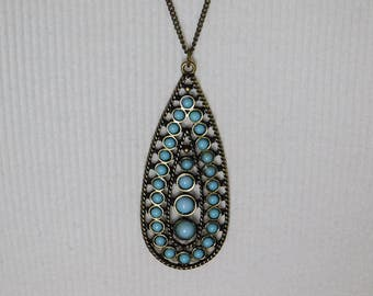 Blue Teardrop Pendant Necklace Earrings
