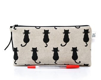 Cat zipper pouch, Black cat pencil case, Kids pouch, Back to school, Teacher gift, Gadget bag, Make Up case, Cosmetic bag, Linen pen bag