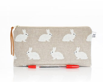 Rabbit pencil case, Makeup bag, Kids pouch, Bunny bag, Pet pouch, Zipper bag, School supplies, Linen pen bag, Cosmetic case, Teacher gift