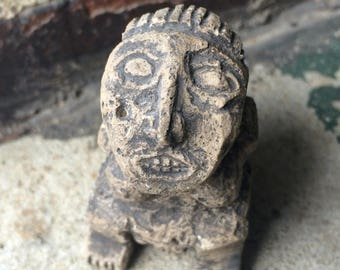 Vintage Pre Columbian Style Figure of Carved Stone or Composite Mayan Aztec Olmec Incan Mesoamerica Ancient Culture Mexico Guatemala Peru