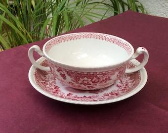Vintage English soup bowl and saucer by Wood's Burslem, Seaforth design
