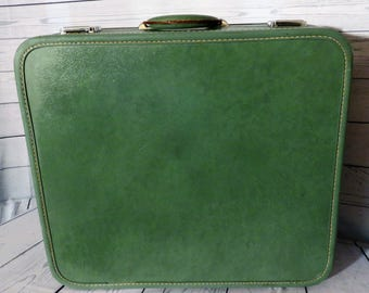 Skyway Green Suitcase, Large Green Case, Travel Luggage, 1950s Luggage