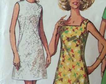 Fantastic Jiffy Pattern for Timeless A-Line Dress with Neck Variations---Simplicity 8101---Size:  14 Petite  Bust  36