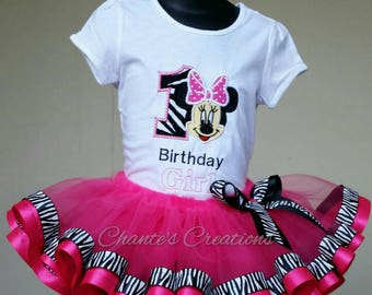 1st birthday Minnie Mouse, zebra print, embroidery tutu set