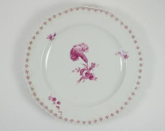 Antique 19th century Berlin porcelain CARNATION reticulated plate