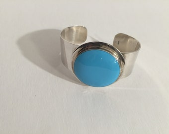 Sterling Silver and Turquoise Enamel Bangle Cuff Bracelet- 55.5g, Large Wide Cuff- 925 Mint Condition -Gift